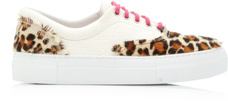 Diemme Iseo Leather and Leopard-Print Calf Hair Sneakers