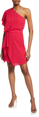 Halston Flowy One-Shoulder Mini Dress with Draped Skirt