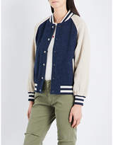 The Great Ladies Navy Striped Classic Letterman Wool-Blend Bomber Jacket