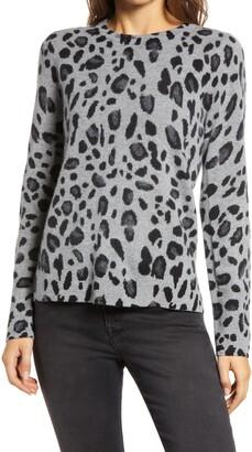 Halogen Leopard Cashmere Sweater