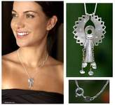 Sterling Silver and Diamond Pendant Necklace, 'Angel Raphael'