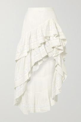 LoveShackFancy Lisette Asymmetric Ruffled Crochet-trimmed Cotton-voile Skirt - White