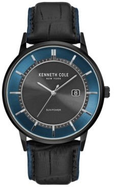 Kenneth Cole New York Men's Solar Black Leather Strap Watch 42mm