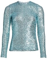 Thumbnail for your product : Naeem Khan Crewneck Sequin Long-Sleeve Top