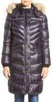 Bernardo Women's Long Down & Primaloft Coat With Genuine Coyote Fur Trim Hood