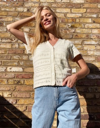 And other stories & open knit short sleeve cardigan in cream