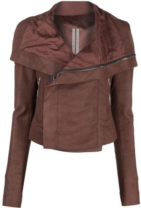 Rick Owens Oversized-Collar Leather Jacket