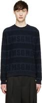 MSGM Navy Logo Terrycloth Pullover