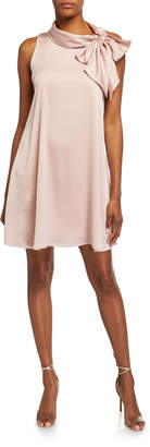 Robbie Bee Signature By Bow-Neck A-Line Satin Dress