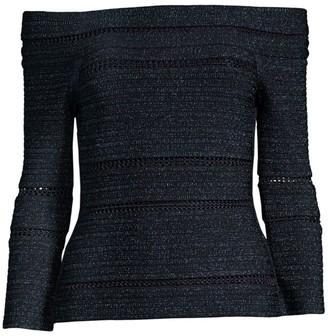 Herve Leger Off-The-Shoulder Lurex & Knit Top
