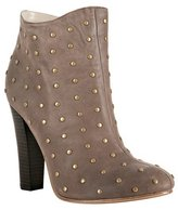 light chocolate studded leather 'Cloti' booties