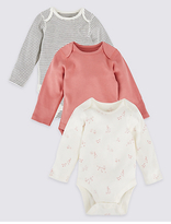 Marks and Spencer 3 Pack Pure Cotton Assorted Bodysuits