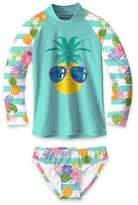 Sunshine Swing Girls' Bikini Bottoms - Turquoise Pineapple Rashguard Set - Toddler & Girls