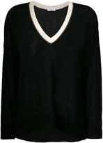 Brunello Cucinelli V neck knitted top - women - Cotton - L