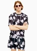 TopmanTopman Black Tech Palm Print Swim Shorts