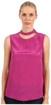 Tibi Solid Silk Cut Out Easy Top (Grape) - Apparel