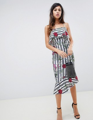 ASOS DESIGN stripe botanical print bodycon midi dress