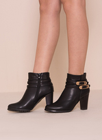 Missy Empire Avalon Black Buckle Detail Heeled Ankle Boots