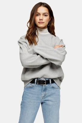 Topshop Womens Petite Grey Panel Sweatshirt - Grey Marl