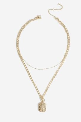 Topshop Engrved Pndnt Multrw Necklace