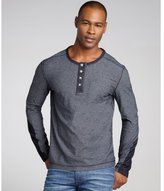 Vicarious by Nature indigo thin stripe cotton long sleeve henley