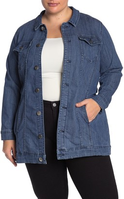 Junarose Jraylin Denim Longline Jacket (Plus Size)