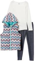Coral & Aqua Zigzag Hooded Vest Set - Girls