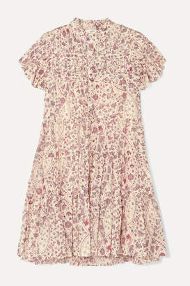 Etoile Isabel Marant Lanikaye Floral-print Cotton-voile Mini Dress - Ecru