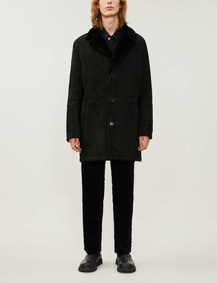 Corneliani Notch-lapel shearling suede jacket