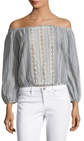 Lucca Couture Cotton Striped Lace Inset Blouse