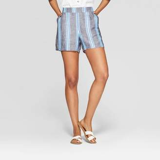 A New Day Women's Striped Regular Fit Mid-Rise Linen Shorts Blue