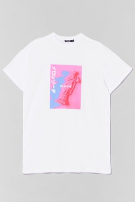 Nasty Gal Womens Just Imagine Relaxed Graphic Tee - White - S