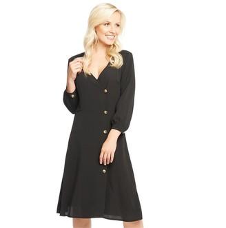 Onfire Womens 3/4 Sleeve Midi Button Up Dress Black