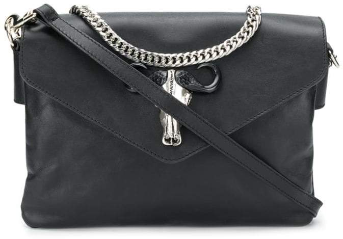 Just Cavalli black leather shoulder bag
