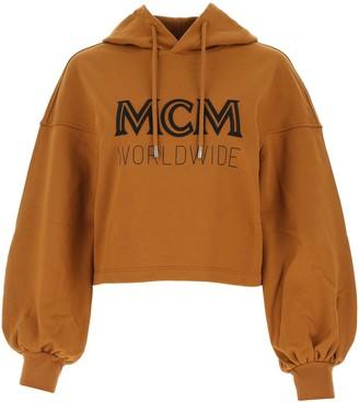 MCM Worldwide Logo Print Cropped Hoodie