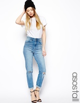 Asos TALL Farleigh High Waist Slim Mom Jeans In Mid Wash Blue With Busted Knees