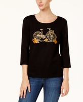 Karen Scott Petite Cotton Embellished Bicycle Graphic Top, Created for Macy's