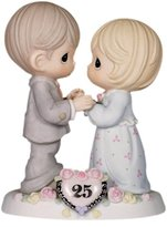 Precious Moments Precious Moments, Our Love Still Sparkles In Your Eyes, 25th Anniversary, Bisque Porcelain Figurine, 115911