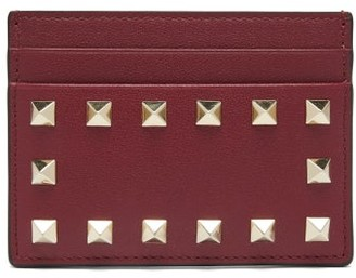 Valentino Rockstud Leather Cardholder - Burgundy