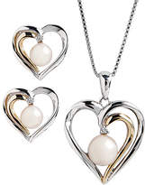 Fine Jewellery Sterling Silver 14K Yellow Gold Diamond And Pearl Heart Earring And Pendant Set