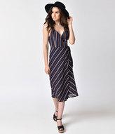 Unique Vintage 1970s Style Black & Multi-Stripe Spaghetti Strap Midi Wrap Dress