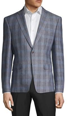 Calvin Klein Slim-Fit Plaid Linen Sportcoat