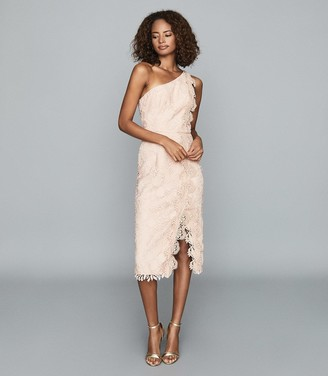 Reiss MENA ONE-SHOULDER LACE DRESS Nude