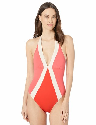 Vince Camuto Women's Halter one Piece Swimsuit with Colorblock