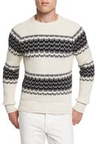 Tom Ford Silk-Blend Striped Fisherman Sweater, Ivory