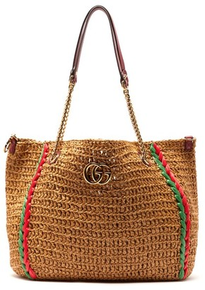 Gucci Large Gg Marmont Macrame Tote Bag - Womens - Beige Multi