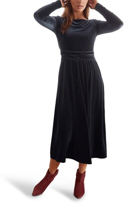 Boden Lois Long Sleeve Velvet Midi Dress