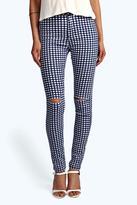 Boohoo Lara Gingham High Waist Tube Jeans