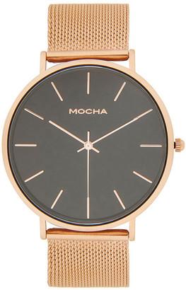 Mocha 41mm Watch- Black/Rose Gold Mesh