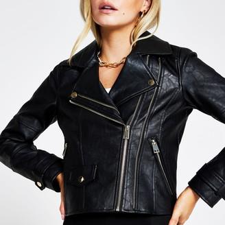 River Island Womens Petite Black zip faux leather biker jacket